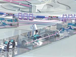 Vue 3D cabanes d'expérimentation rayonnement synchrotron